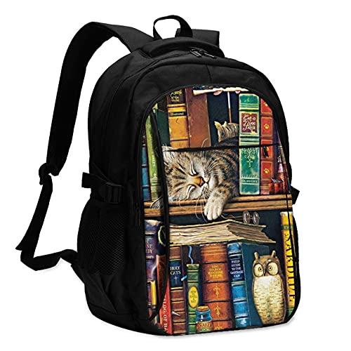 Mochilas para portátil con USB Lindo Gato Dormir Libros Mochila Viaje Escuela Negocio Portátil Bolsa Negro