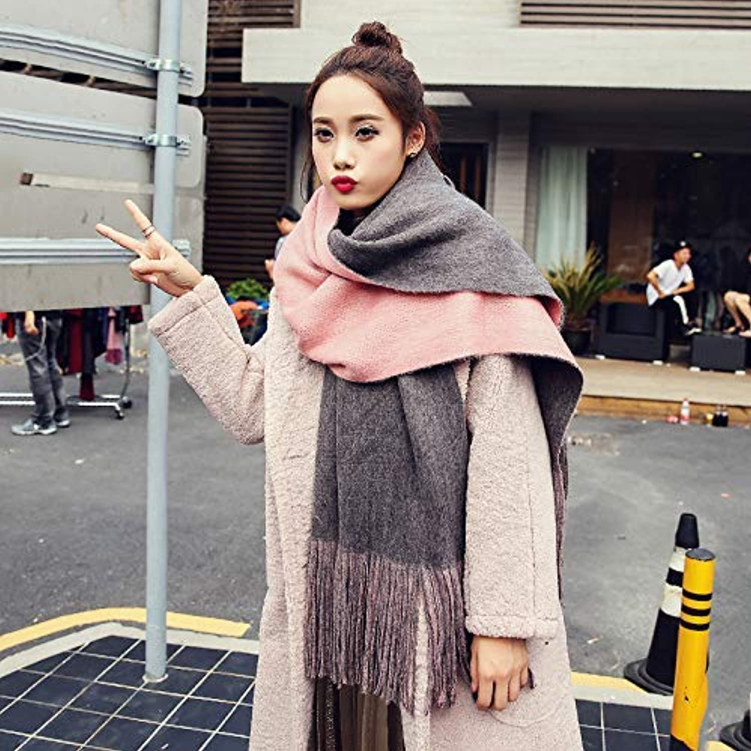 Scarf for Gift Autumn and Winter Shawl Scarf Women's Thick Scarf Keep Warm Long DoubleSided Tassel Scarf Dualuse (color   Grey) Classic Scarf (color   Grey)