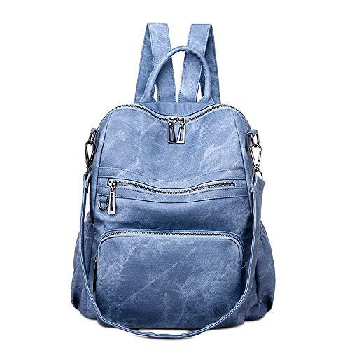 Neuleben Frauen Damen Rucksack Tasche Umhängetasche Daypack PU Leder Handtasche Schultertasche mit Diebstahlsicher Rucksacktasche Damentasche für Alltag Schule Uni Büro Reise (Blau)