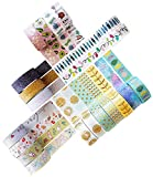 Washi Tape Set - 20 Rotoli di Nastro Adesivo Decorativo Colorato, Glitterato, Floreale e Brillante - Tapes per Decorare Agende, Scrapbook, Album Foto e Progetti Artistici - MozArt Supplies