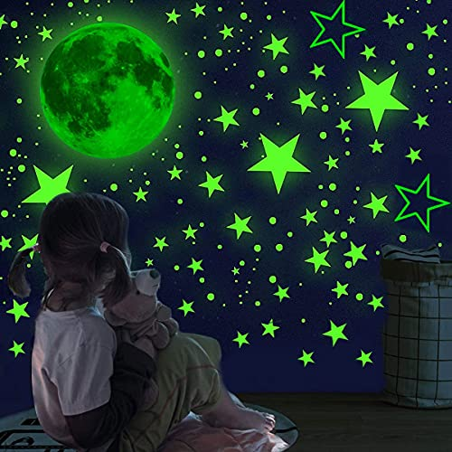 1008 PCS Glow in The Dark Stars Wall Stickers Wall Decals-Realistic Stars and Full Moon Shining Decoration Glowing Ceiling Decals Stickers for Girls Boys