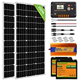 ECO-WORTHY Solar Power System for RV Off Grid Solar Panel Kit with Battery and Inverter: 2pcs 100W 12V Solar Panel + 20A Charge Controller + 2pcs 20Ah Lithium Battery + 1000W Solar Inverter