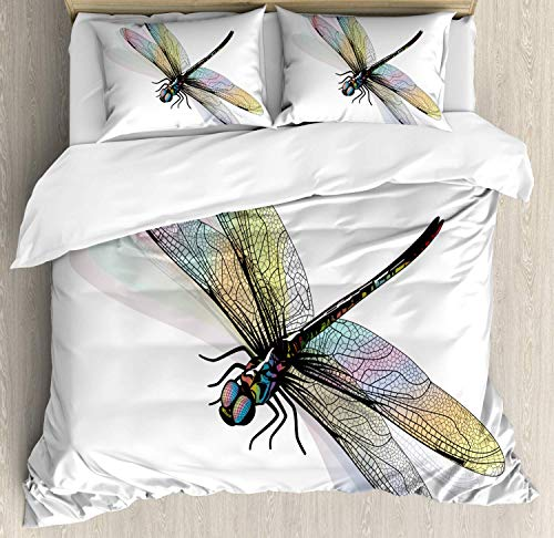 Dragonfly King Bedding Duvet Cover 3 Piece, Shady Dragonfly Pattern with Ornate Lace Style Beauty Wings Design, Luxury Soft Bedding Protects Comforter with 1 Comforter Cover 2 Pillow Case, Azure Blue
