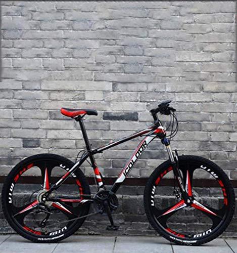 LFEWOZ 26 Pouces Roues 27 Vitesses VTT, Trek Double Disque De Frein De Vélo pour Adultes Hommes Et Femmes VTT Vélo Plage Motoneige Vélo Rouge