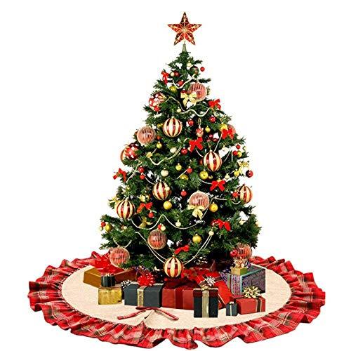 Vlovelife Weihnachtsbaum-Schürze, groß, 120 cm, Leinen, Weihnachtsbaum, Schürze, Baummatte mit kariertem Rüschenrand für Weihnachten, Party, Urlaubsdekorationen