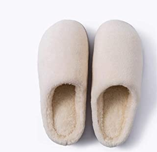 New Winter Home Indoor Warm Couple Slippers Men and Women Soft Bottom Non-Slip Fabric Plus Velvet Cotton Slippers Warmer Soft Plush Home Shoes (Color : Beige, Size : 42-43 Yards)