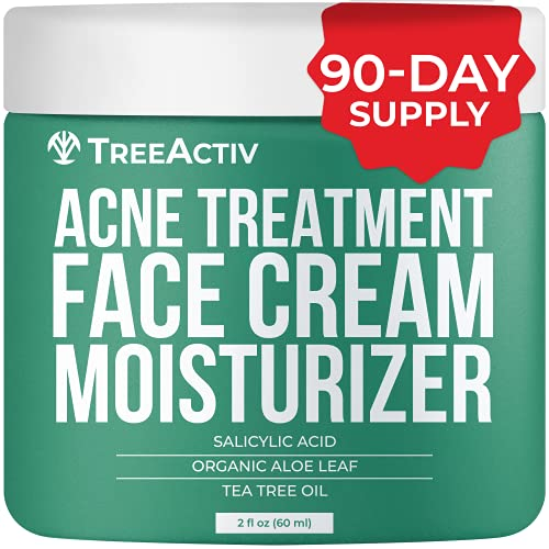TreeActiv Acne Treatment Face Cream Moisturizer   Salicylic Acid + Tea Tree Cream for Pimple, Blackhead, Whitehead, Zit, Milia   Natural Blemish Remover & Prevention for Adults & Teens   90-Day Supply