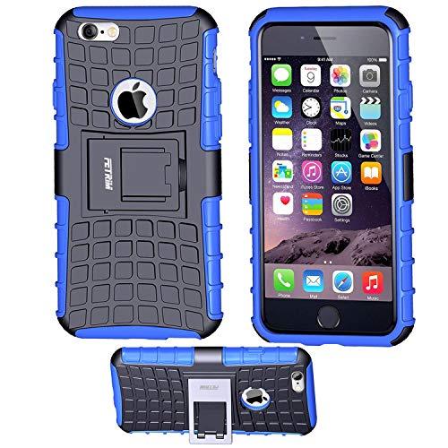 iPhone 6 Coque,iPhone 6S Coque, Fetrim Armor Support Protection Étui,Anti Chocs Bumper Étui Hybride Protection Housse Cover pour Apple iPhone 6 6S (Bleu)