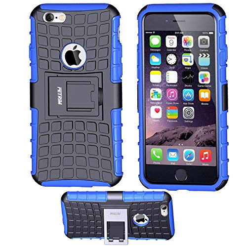 iPhone 6 Coque,iPhone 6S Coque, Fetrim Armor Support Protection Étui,Anti Chocs Bumper Étui Hybride Protection Housse Cover pour Apple iPhone 6 6S (Bleu)