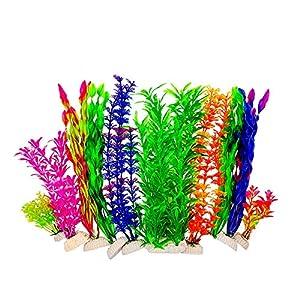 BEGONDIS Artificial Fish Tank Plants, Set of 10 Plastic Aquariums Plants Decorations (Set 1)