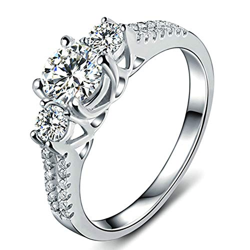 Lxnoap Size 8 - White Sapphire Ladys 10K White Gold Filled Jewellry Wedding Ring 3 Stone Engagement Ring Style
