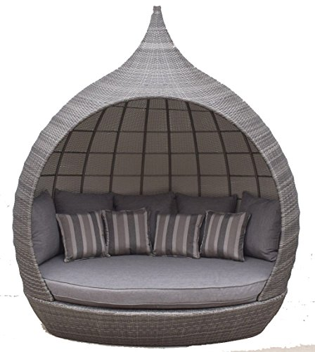 Signature weave Pear Daybed Garden Day Bed - Grey UV Treated Wicker