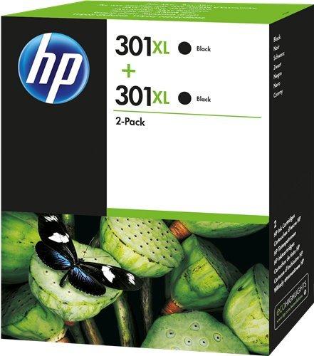 HP 301XL D8J45AE - Cartuchos de Alta Capacidad, para Impresoras de Inyección de Tinta HP Deskjet 1050, 2540, 3050, Officejet 2620, 4630, Envy 4500, 5530, Negro, Pack de 2