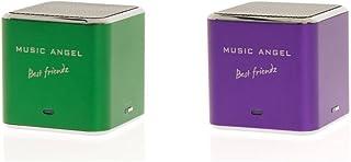 Music Angel Best Friendz Speaker Twin Pack Bundle for iPhone/iPad/iPod/Mp3/Laptop/Smartphone - Green/Purple