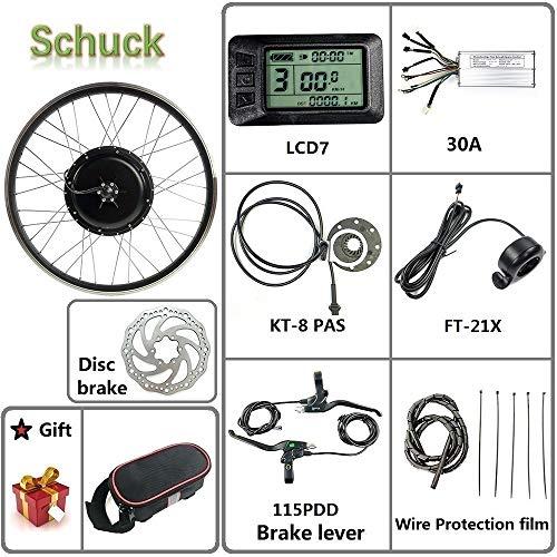 Schuck 48V 1000W Kit de Bicicleta eléctrica 20'/ 24' / 26'/27.5' / 28'/ 700C Rueda Delantera Kit de conversión de Bicicleta eléctrica, con KT-LCD7 (48V 20 Inch)