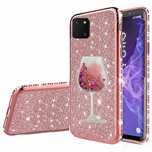 Nadoli Galaxy Note 10 Lite Glitzer Hülle,Kristall Diamant Strass Bumper mit 3D Fließend Flüssig Treibsand Weinglas Silikon Handyhülle Frauen für Samsung Galaxy Note 10 Lite
