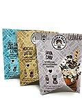 • Frozen Bean Frappe Blends Variety Pack (3.35 oz) Java Chip Sea Salt Caramel Latte (2.8 oz) Mocha Latte (2.8 oz)!