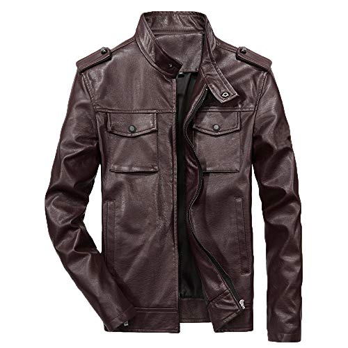 Tactical Waterproof Jackets for Men.Men's Autumn Winter Casual Long Sleeve Solid Stand Zipper Leather Jacket Top Coffee