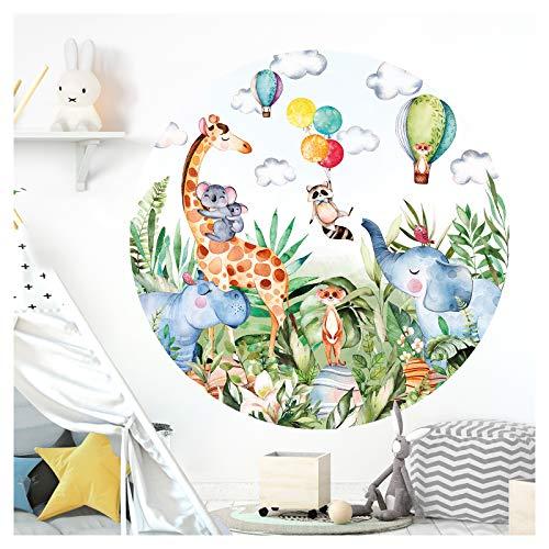 Little Deco DL563 - Adhesivo decorativo para pared (redondo, 60 cm de diámetro), diseño de animales de safari, jirafa, elefante