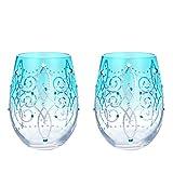 NymphFable Juego de Copas de Vino sin Tallo de 2 Coronas Pintadas a Mano Regalo de Boda Aniversario Personalizadas 520ml Azul