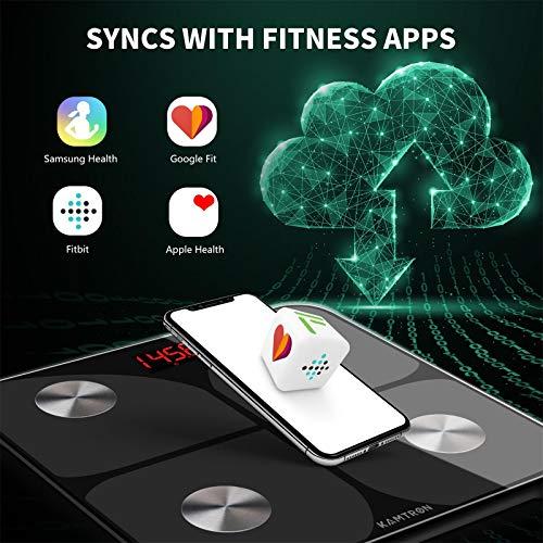 Bilancia Pesa Persona Digitale Bilancia Pesapersone Impedenziometrica Senza Fili Intelligente per IOS e Android Integrata con 11 Indici di Misurazione Massa Grassa, Massa Magra e Metabolismo Basale