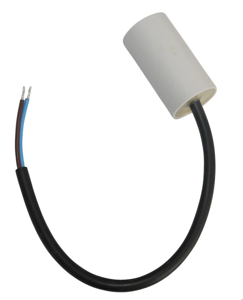 AERZETIX - Condensador Permanente para Trabajo de Motor - 5µF 450V - ⌀30/53mm - con cable - Cuerpo de Plástico Cilíndrico Blanco - C10219