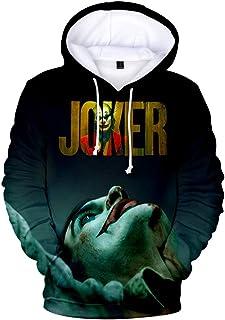 FAKDR Unisex Impresión 3D Joker con Capucha, Sudadera De Bolsillo con Cordón, Jersey con Cuello Redondo Adecuado para Niño...
