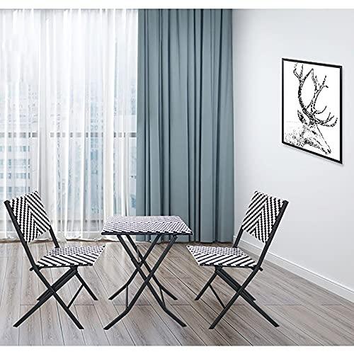 SUN RNPP Juego de Muebles de jardín de 3 Piezas de ratán de protección Ambiental de imitación PE, sillas de Exterior y Mesa de Acero para Comedor al Aire Libre para Patio, jardín