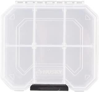 Husky 6 in. 6-Compartment Heavy-Duty Semi-Transparent Storage Bin Small Parts Organizer, Clear and Black