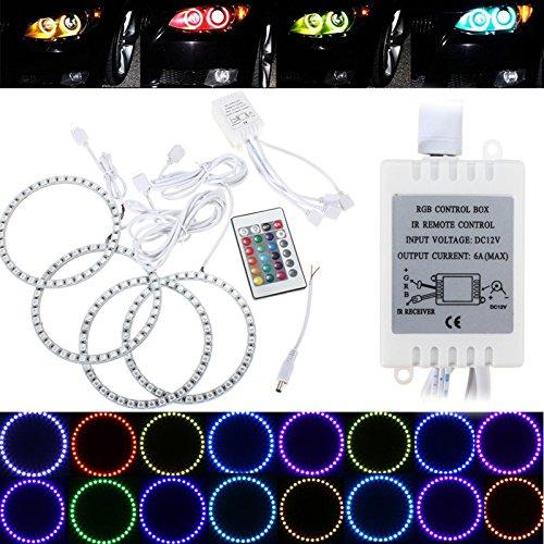 MASUNN RGB 120mm Multi-Color 5050 Flash LED SMD 12V Angel Eyes + télécommande