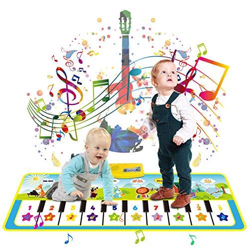 LISOPO Music Mat 19 Keys 8 Instrument Sounds, Dance Mat for Toddlers Kids...