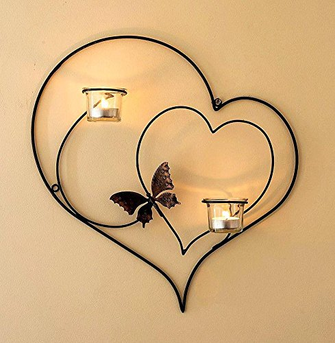 DanDiBo Wandteelichthalter Herz 39 cm Schwarz Teelichthalter Metall Wandleuchter Kerze