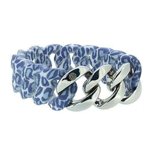 Hanse-Klunker Armband Damen ORIGINAL Silikon Muster Leopard Jeans, Edelstahl Silber Frauen Mädchen Größe 18-19 cm inkl. Schmuck-Geschenk-Box