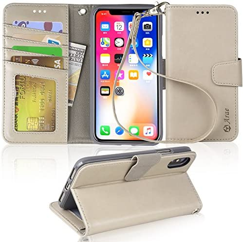 Arae Case for iPhone X/Xs, Premium PU Leather Wallet Case [Wrist Straps] Flip Folio [Kickstand Feature] with ID&Credit Card Pockets for iPhone X (2017) / Xs (2018) 5.8 inch (not for Xr) - Light Gray