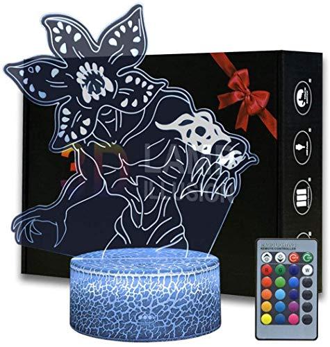 3D ilusión cumpleaños presente demogorgon 16 colores cambiantes interruptor táctil decoración noche lámpara con control remoto