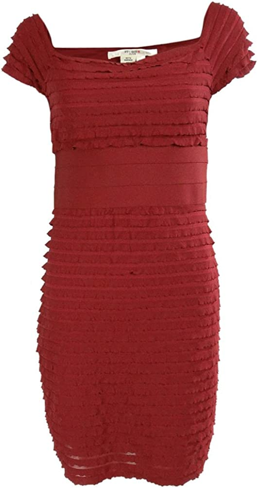 Studio M Women's Tiered Off-The-Shoulder Sheath Dress (LP, Garnet)