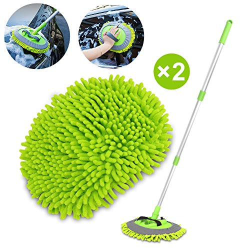 "2 in 1 Chenille Microfiber Car Wash Brush Mop Mitt with 45"" Aluminum Alloy Long Handle, Car Cleaning Kit Brush Duster, Not Hurt Paint Scratch Free Cleaning Tool Dust Collector Supply for Washing Truck"