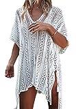Kfnire Traje de baño de Las Mujeres Bikini Traje de baño Vestido de Playa Crochet (A- Blanco)