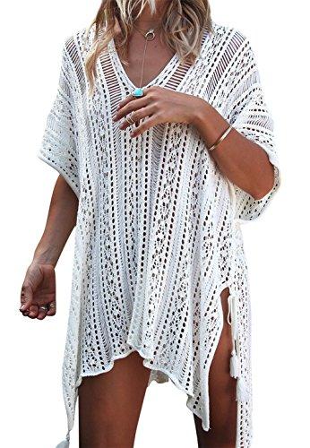 Kfnire Frauen Bademode, Badeanzug Bikini vertuschen Bademode häkeln Strandkleid (A- Weiß)