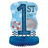 Unique Party 58179 - Decoración de Mesa de Papel de Seda - 35 cm - Fiesta de Primer Cumpleaños de Niños Náuticos