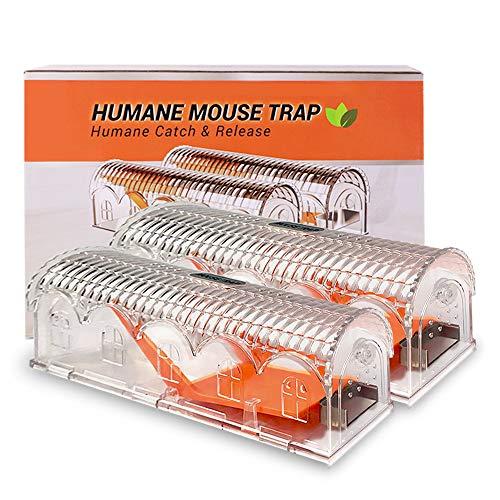 Eterbiz Piège à Souris Humain, Piège à Rat dans la Protection de l'environnement Transparente et Souricière réutilisable, pour Intérieur Cuisine Maison Jardin (Lot de 2)