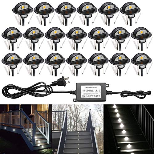 QACA Pack of 20 Low Voltage LED Deck Lighting Kit Stainless Steel Waterproof Outdoor Landscape Garden Yard Patio Step Decoration Lamps LED In-ground Lights (Cold White)