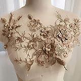 Parches de apliques bordados, accesorios de calcomanías de tul para costura, nupcial, flores con cuentas para ropa, tela de encaje de diamantes de imitación, hecho a mano, vestido de boda, dorado