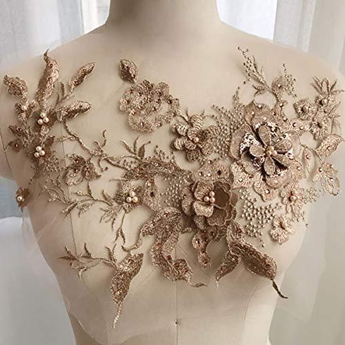 OSISTER7 - Parches de tul con bordado en 3D con cuentas de encaje floral con estrás, para manualidades, escote de boda, vestido de novia, ropa bordada, No nulo, dorado, Tamaño libre