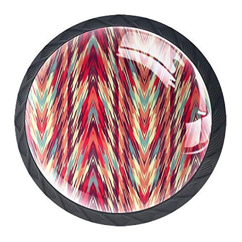 LXYDD Manijas para cajones Perillas para gabinetes Perillas Redondas Paquete de 4 para Armario, cajón, cómoda, cómoda, etc. Tejido étnico Abstracto