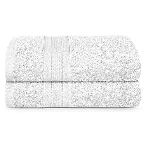 TRIDENT White Towel Set, 2 Piece Bathroom Towels, 100% Cotton, Highly Absorbent Large Bath Towels Set, Super Soft, Luxury White Towels for Bathroom, Soft and Plush, 500 GSM (White)