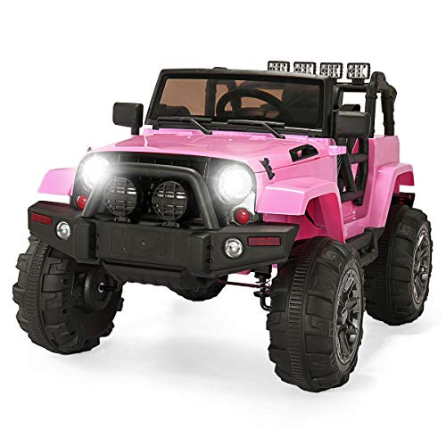 JAXPETY 12V Kids Ride On Car Truck, Battery Powered Electric Cars Jeep for Kids with Remote Control 3 Speed LED, Pink