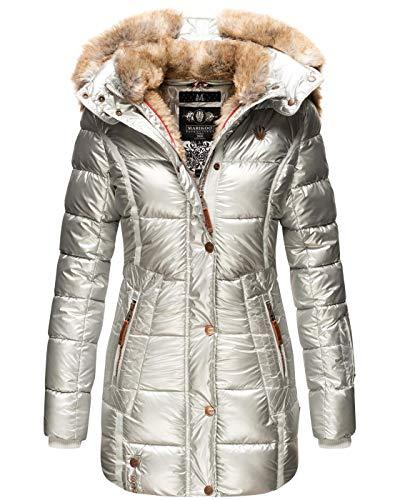 MARIKOO Damen Winter Jacke Mantel Parka warm gefütterte Winterjacke B817 [B817-Lieblings-Silber-Gr.S]