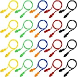Bememo 20 Pairs Corded Ear Plugs Reusable Silicone Earplugs Sleep Noise Cancelling for Hearing Protection (Color 7)