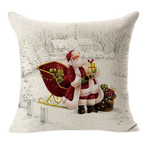 Coloré(TM) Coton et lin ,Motif de Noël ,Housse de Coussin ,Maison Canapé DéCoratif,Voiture, 45cm X 45cm(OREILLER NON INCLUS) (Modèle A)